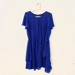 Vintage Blue Silky Satin Dress XXL T-Shirt Mini